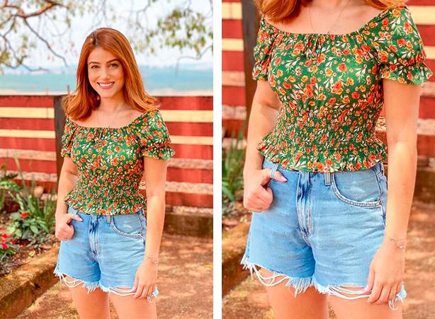 Short jeans com blusa