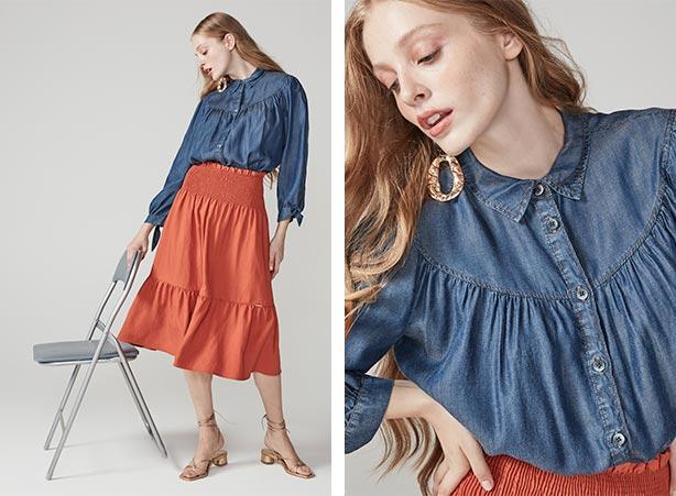 Camisa jeans com saia terracota