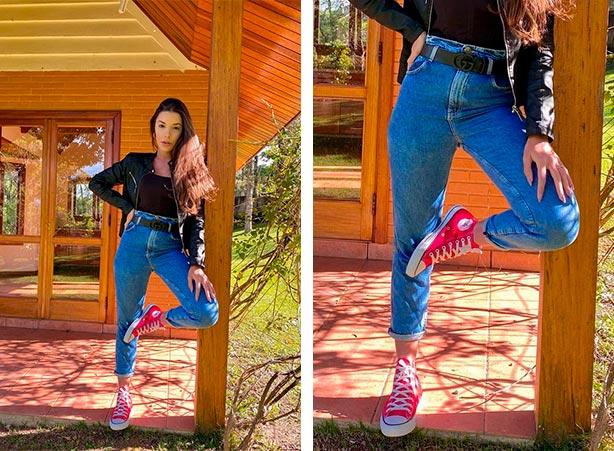 Clochard jeans com tênis e jaqueta