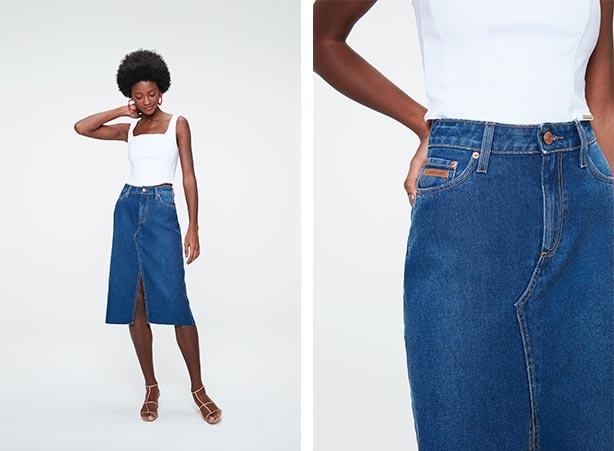 Saia jeans e top cropped em looks básicos