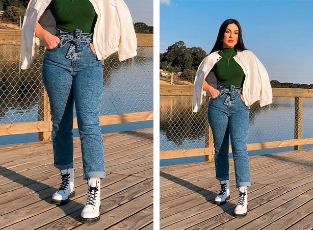 Calça jeans com coturno branco