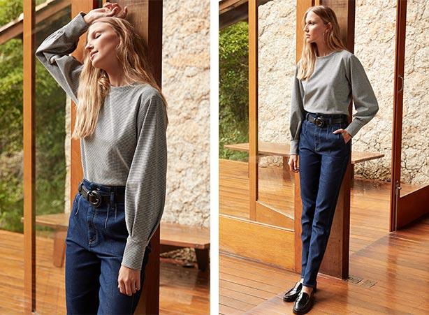 Look com blusa de moletom e calça jeans