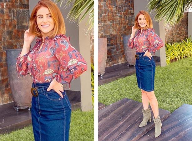 Saia jeans média e blusa estampada para usar no inverno