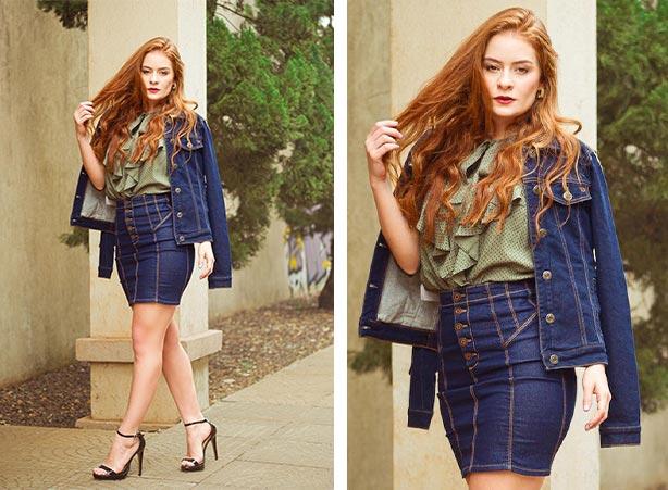 Saia jeans com jaqueta jeans