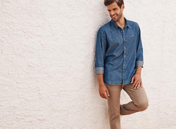 Looks casuais com camisa jeans e calça chino