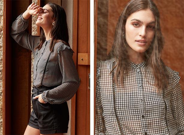 Short preto resinado com blusa transparente