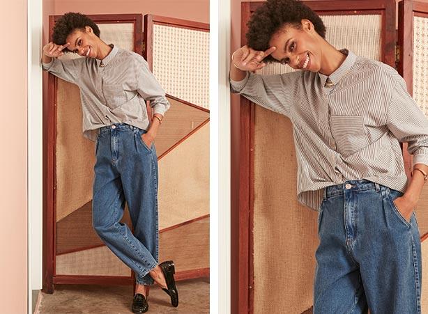 Calça slouchy jeans com blusa feminina