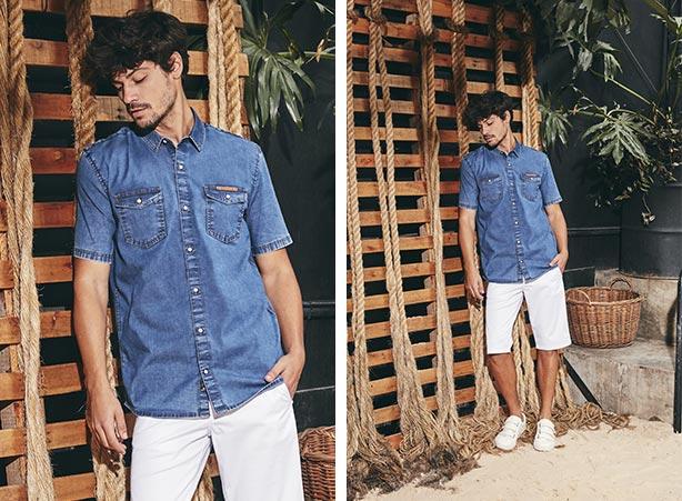 Camisa jeans com bermuda masculina