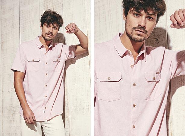 Look masculino com camisa rosa