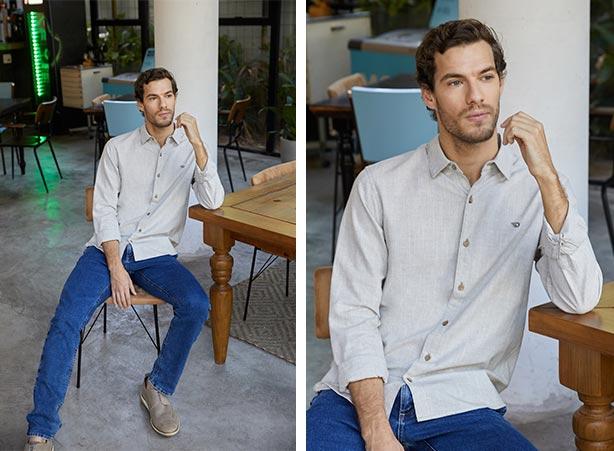 Camisa social cinza com calça jeans