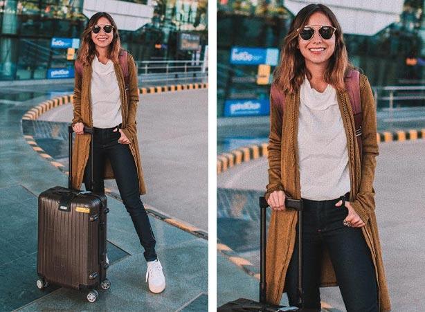 Cardigan feminino longo com calça jeans