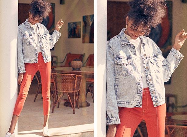Calça colorida e jaqueta jeans feminina