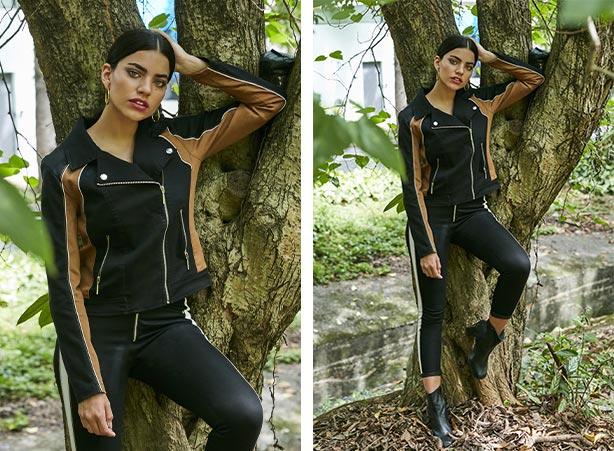 Look conjunto em preto e tecido camurça
