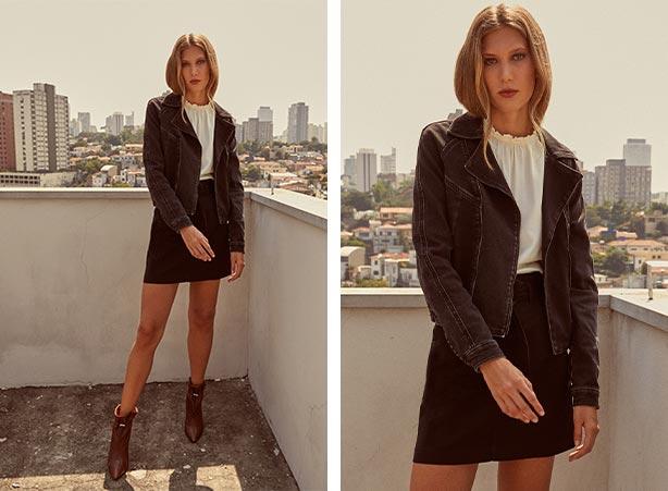 Saia com jaqueta preta em looks femininos estilosos
