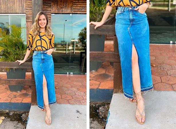 Saia longa jeans com fenda frontal