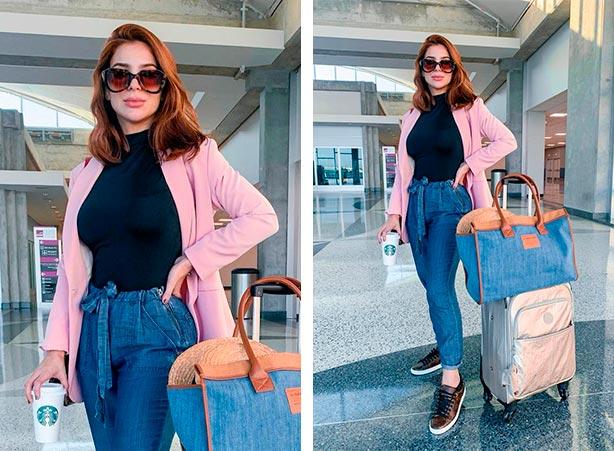Blazer rosa com calca jeans clochard