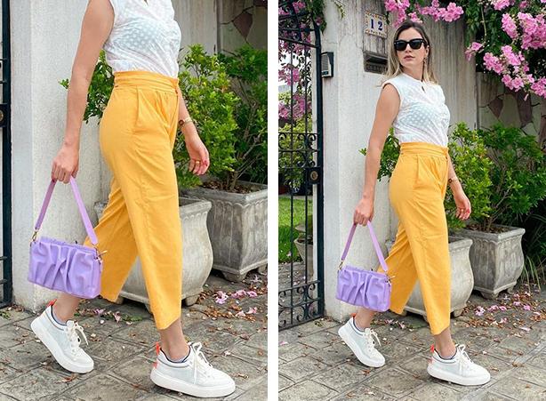 Look calça amarela com tênis branco
