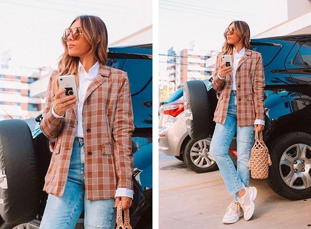 Calça jeans com blazer xadrez
