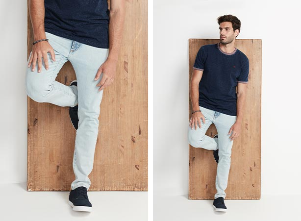 Calça jeans skinny masculina com camiseta