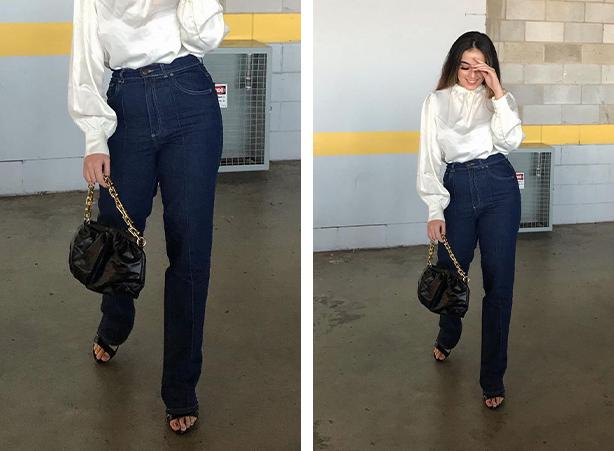 Calça reta jeans escura