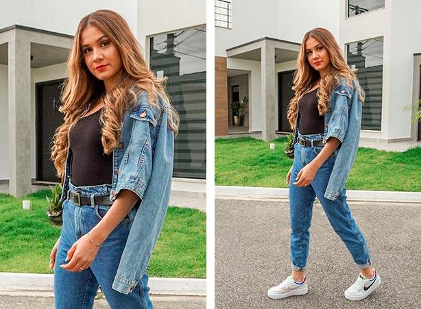 Jaqueta jeans curtinha com blusa preta