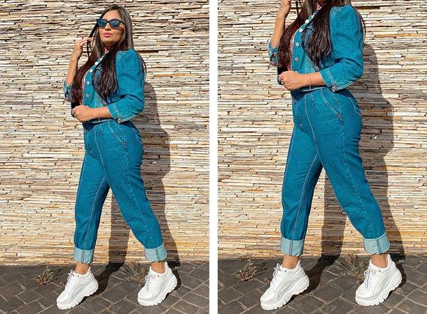 Jaqueta e calça jeans da mesma cor