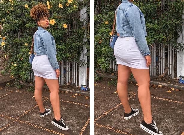 Jaqueta jeans com saia branca