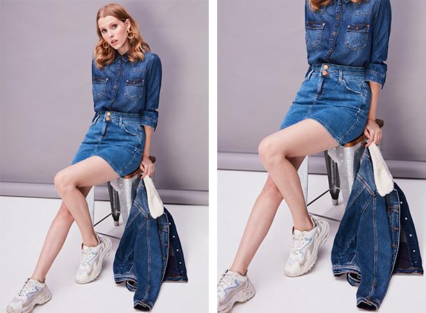 Jaqueta jeans com saia jeans