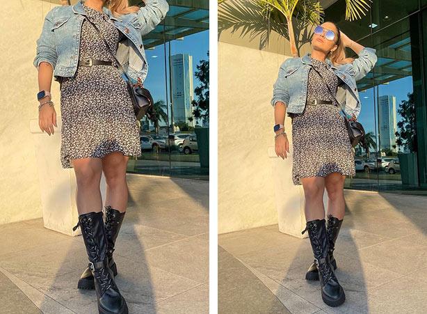 Jaqueta jeans com vestido curto