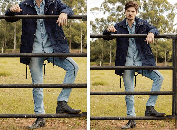 Jaqueta masculina sobreposta a camisa jeans