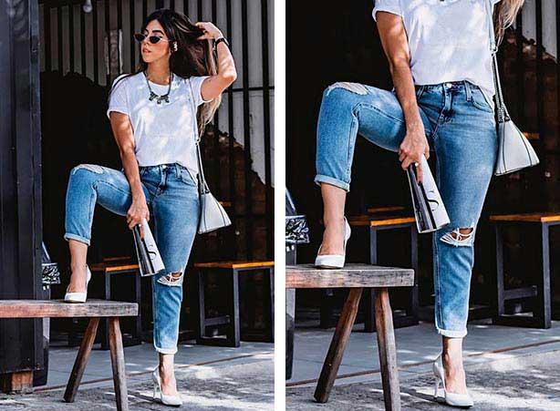 Jeans boyfriend com salto
