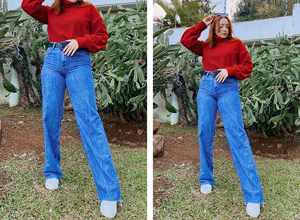 Look com calça jeans e blusa de gola alta