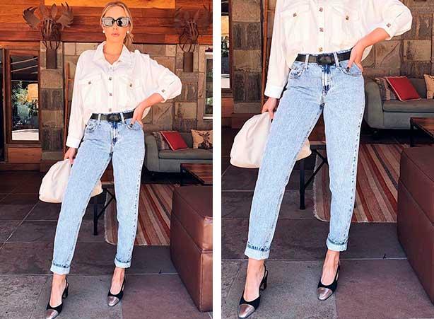 Look calça mom jeans com camisa