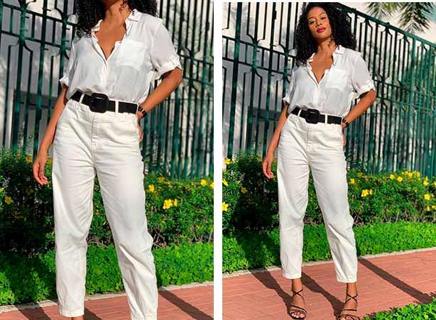 Look com camisa feminina branca