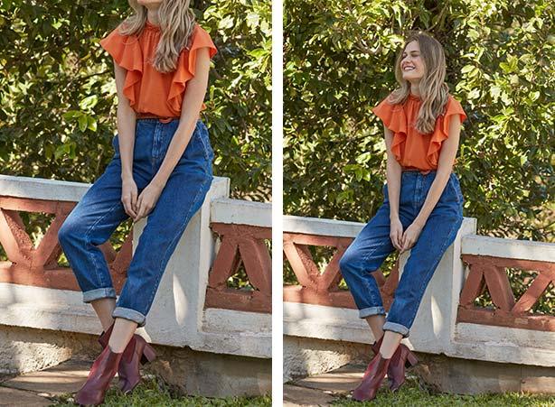 Calça jeans com bota cano curto