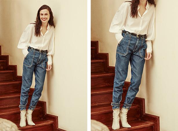 Calça jeans e bota branca