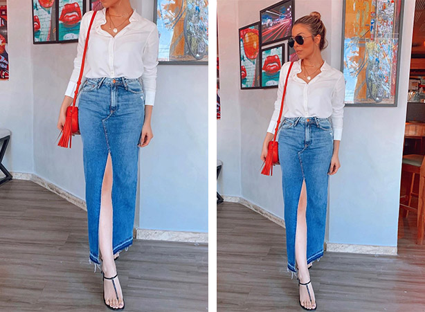 Look com saia jeans longa e camisa branca
