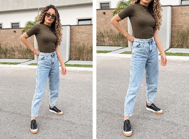 Calça jeans com tênis preto