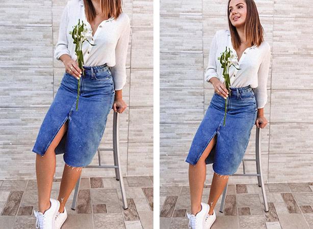 Saia jeans com tênis branco