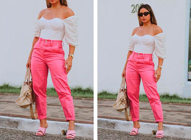 Blusa ombro a ombro com calça rosa