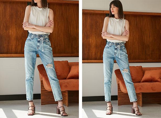 Blusa sem manga com calça jeans