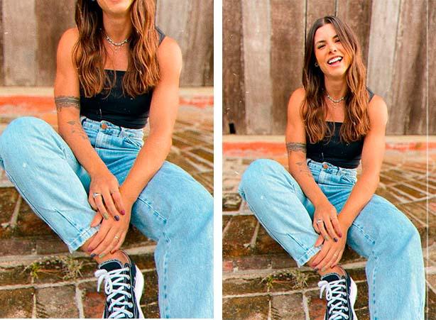 Calça jeans clara cintura alta com blusa cropped