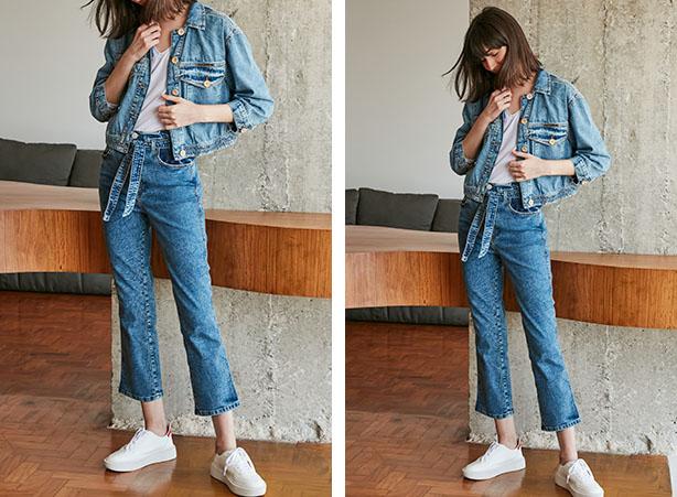 Calça jeans clara com jaqueta jeans