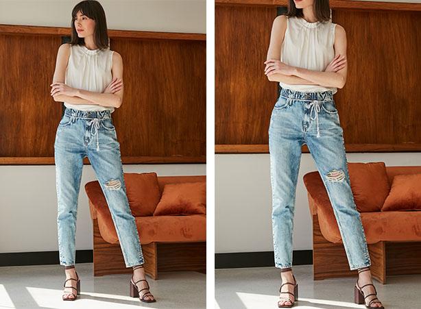 Calça jeans clara com salto