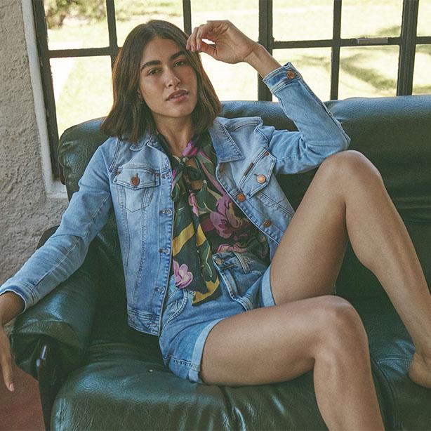 Jaqueta com short jeans