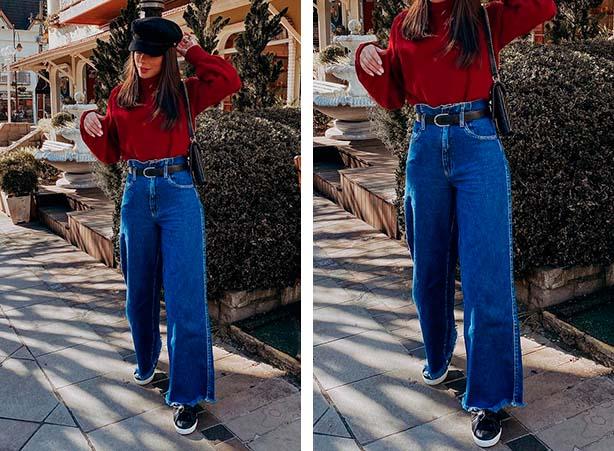Pantalona jeans com tênis preto