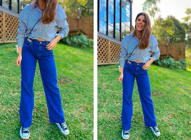 Wide leg jeans com tênis preto