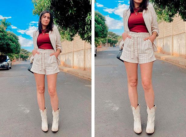 Look com short e blazer e botas brancas