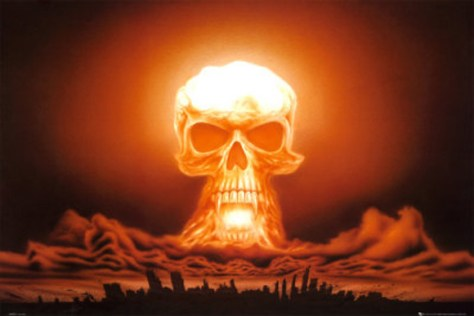A nuclear explosion in the form of a human skull.