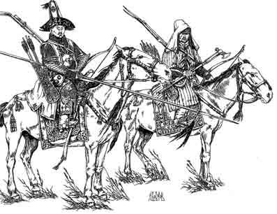 Воины-кочевники на конях.